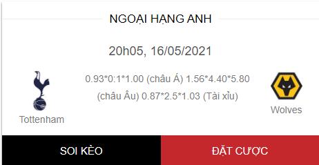 Soi kèo trận Tottenham vs Wolves 20h05 ngày 16/5/2021